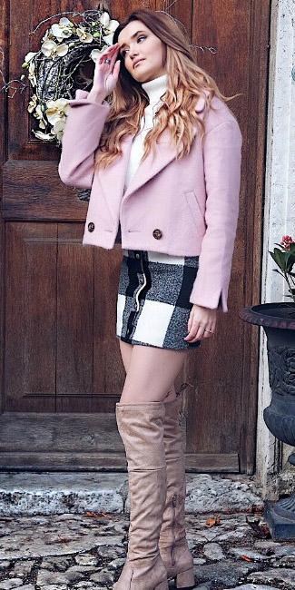white-mini-skirt-plaid-print-white-sweater-turtleneck-pink-light-jacket-coat-tan-shoe-boots-fall-winter-hairr-lunch.jpg