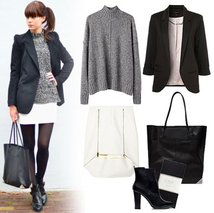 white-mini-skirt-grayl-sweater-pony-black-bag-tote-wear-style-fashion-fall-winter-black-shoe-booties-black-tights-black-jacket-blazer-brun-work.jpg