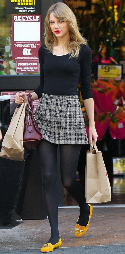 grayl-mini-skirt-black-tee-black-tights-burgundy-bag-yellow-shoe-flats-taylorswift-wear-style-fashion-fall-winter-plaid-blonde-lunch.jpg