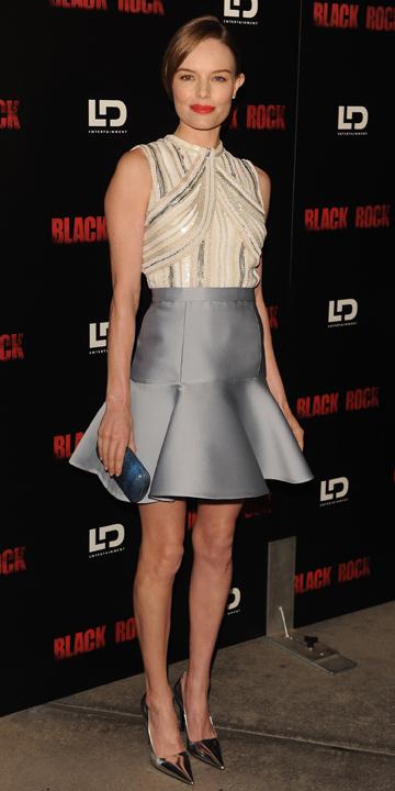 grayl-mini-skirt-white-top-bun-blue-bag-clutch-katebosworth-wear-style-fashion-spring-summer-gray-shoe-pumps-hairr-dinner.jpg