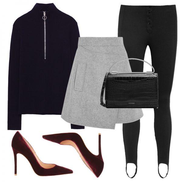 black-leggings-blue-navy-sweater-grayl-mini-skirt-stirrup-black-bag-burgundy-shoe-pumps-fall-winter-lunch.jpg