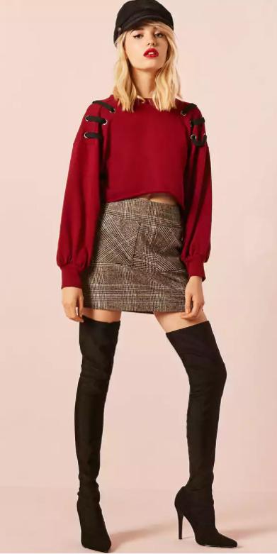 grayl-mini-skirt-plaid-black-shoe-boots-otk-red-sweater-newsboy-cap-fall-winter-blonde-lunch.jpg