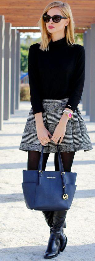 grayl-mini-skirt-pleat-black-sweater-blue-bag-tote-sun-black-tights-black-shoe-boots-fall-winter-blonde-lunch.jpg