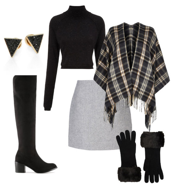 grayl-mini-skirt-black-sweater-turtleneck-grayd-cardigan-cape-plaid-poncho-gloves-black-shoe-boots-studs-fall-winter-lunch.jpg