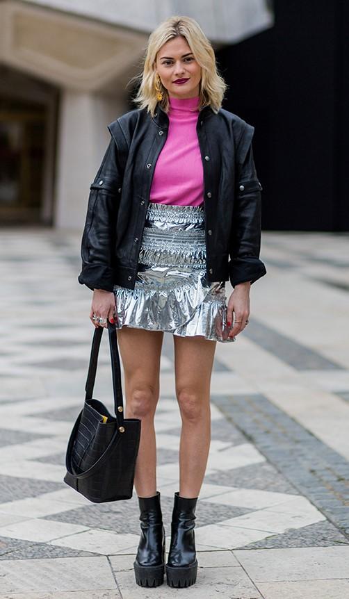 grayl-mini-skirt-pink-magenta-sweater-turtleneck-blonde-earrings-black-jacket-bomber-black-bag-black-shoe-booties-metallic-silver-fall-winter-lunch.jpg