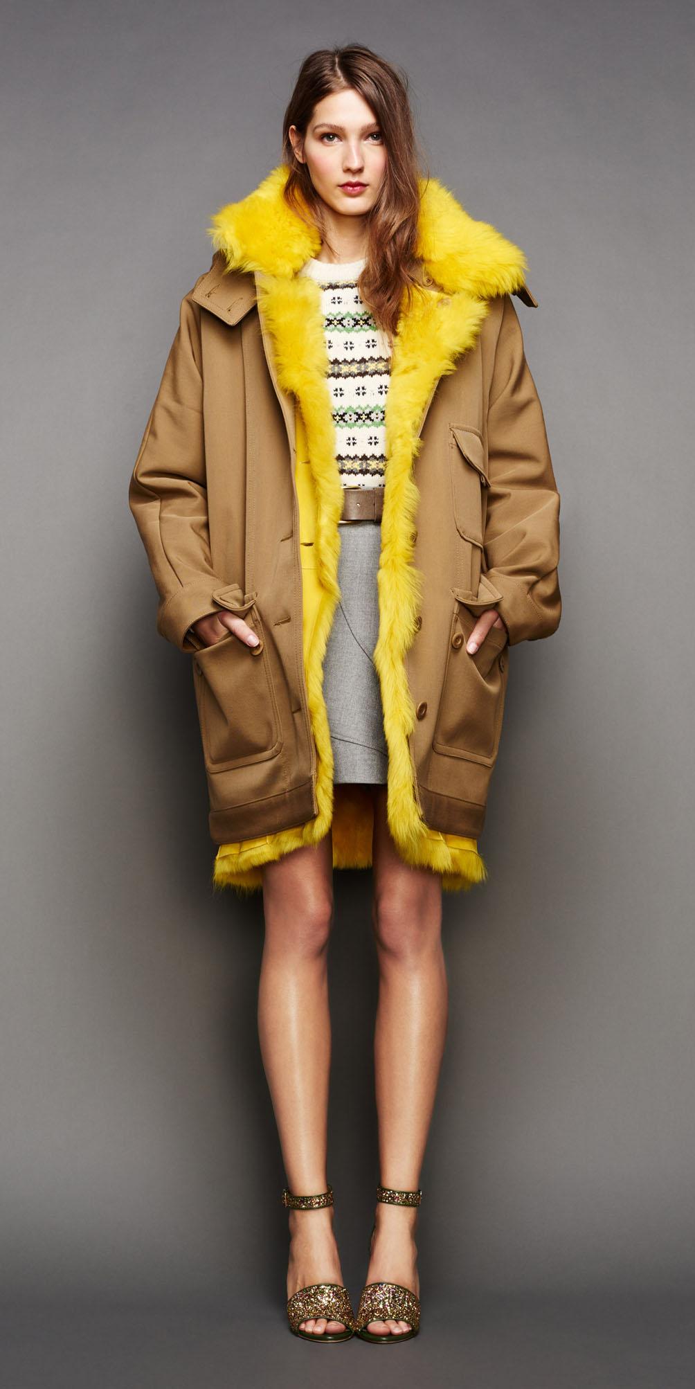 grayl-mini-skirt-white-sweater-print-fairisle-belt-jcrew-hairr-tan-shoe-sandalh-camel-jacket-coat-parka-fall-winter-outfit-lunch.jpg