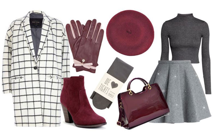 grayl-mini-skirt-dgray-sweater-white-jacket-coat-red-bag-howtowear-fashion-style-outfit-fall-winter-gray-tights-match-gloves-red-shoe-boots-hat-beret-lunch.jpg