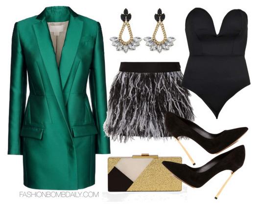grayl-mini-skirt-black-top-bustier-bodysuit-strapless-green-emerald-jacket-blazer-boyfriend-black-shoe-pumps-tan-bag-clutch-earrings-fall-winter-holiday-party-dinner.jpg