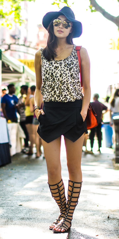 black-mini-skirt-white-cami-leopard-print-red-bag-hat-sun-brun-black-shoe-sandals-gladiator-spring-summer-weekend.jpg