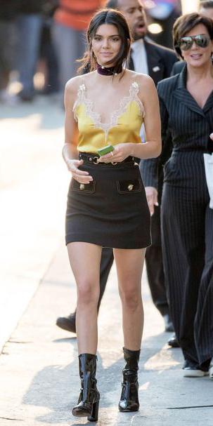 black-mini-skirt-lace-silk-choker-kendalljenner-black-shoe-booties-yellow-cami-spring-summer-brun-dinner.jpg
