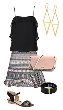black-mini-skirt-print-black-cami-earrings-pink-bag-bracelet-black-shoe-sandals-howtowear-fashion-style-outfit-spring-summer-dinner.jpg