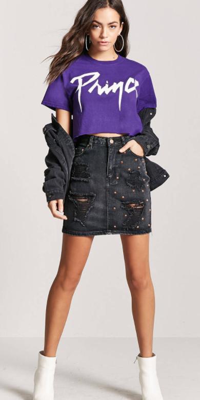 black-mini-skirt-denim-purple-royal-graphic-tee-black-jacket-jean-hoops-white-shoe-booties-fall-winter-brun-lunch.jpg