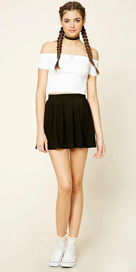 black-mini-skirt-white-top-wear-style-fashion-spring-summer-offshoulder-choker-white-shoe-sneakers-braids-hairr-lunch.jpg