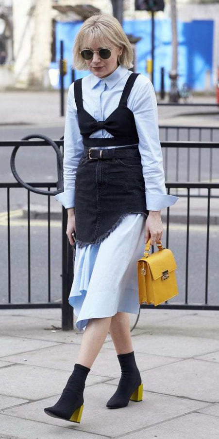 blue-light-dress-shirt-layer-under-black-mini-skirt-black-crop-top-sun-blonde-yellow-bag-black-shoe-booties-fall-winter-lunch.jpg