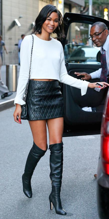 black-mini-skirt-white-top-crop-black-bag-leather-wear-style-fashion-fall-winter-black-shoe-boots-chaneliman-newyork-brun-dinner.jpg