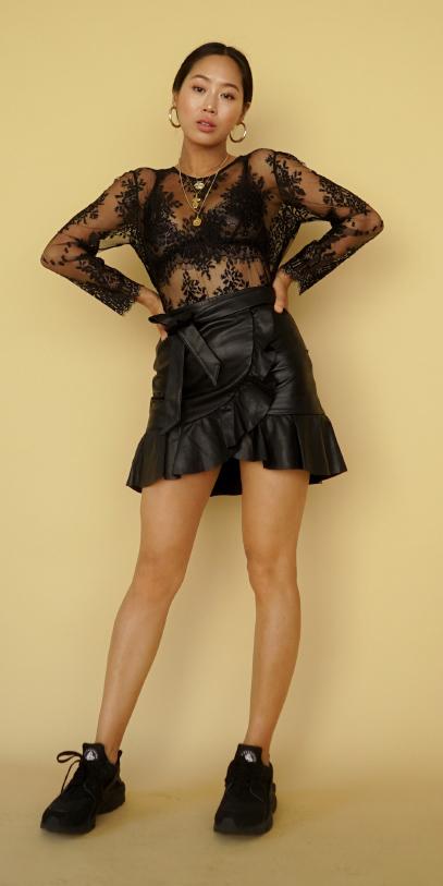 black-mini-skirt-black-top-lace-sheer-black-bralette-brun-hoops-black-shoe-sneakers-spring-summer-lunch.jpg