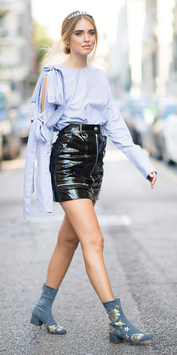 how-to-style-black-mini-skirt-leather-blue-light-top-blouse-blonde-bun-head-blue-shoe-booties-spring-summer-fashion-lunch.jpg