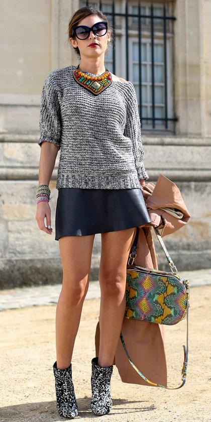 black-mini-skirt-leather-grayl-sweater-necklace-bun-yellow-bag-white-shoe-booties-fall-winter-hairr-lunch.jpg