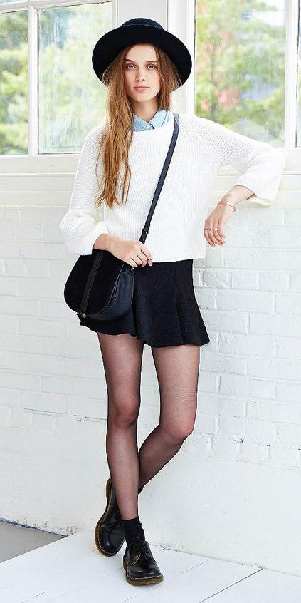black-mini-skirt-blue-light-collared-shirt-white-sweater-black-bag-black-tights-black-shoe-brogues-hat-socks-layer-howtowear-fashion-style-outfit-fall-winter-hairr-weekend.jpg
