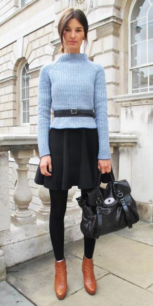 black-mini-skirt-blue-light-sweater-bun-black-bag-wear-style-fashion-fall-winter-black-tights-cognac-shoe-booties-belt-mockneck-brun-work.jpg