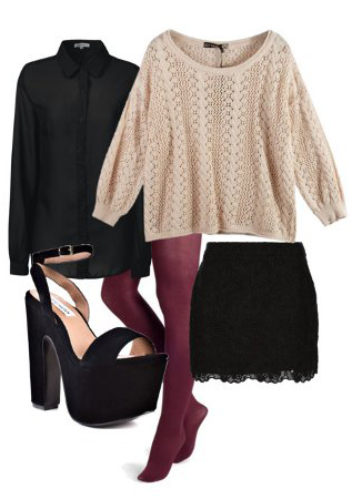 black-mini-skirt-black-top-blouse-tan-sweater-black-shoe-sandalh-howtowear-fashion-style-outfit-fall-winter-burgundy-tights-lace-layer-platforms-dinner.jpg