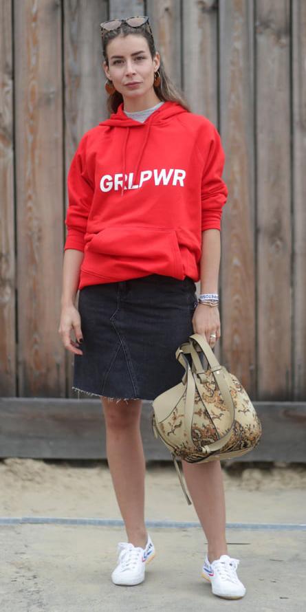 black-mini-skirt-denim-red-sweater-sweatshirt-graphic-blonde-tan-bag-white-shoe-sneakers-fall-winter-weekend-hoodie.jpg