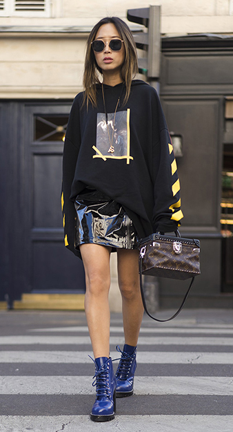 black-mini-skirt-patent-leather-brown-bag-blue-shoe-booties-black-sweater-sweatshirt-graphic-brun-sun-pony-fall-winter-lunch.jpg