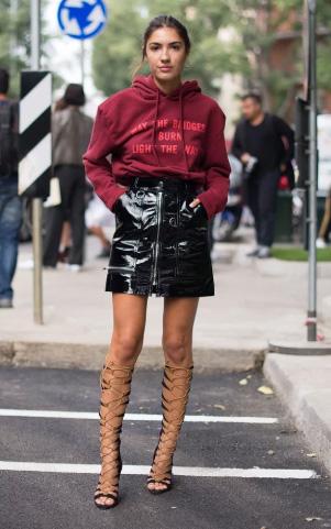 black-mini-skirt-patent-leather-burgundy-sweater-sweatshirt-hoodie-graphic-hairr-black-shoe-sandalh-gladiators-fall-winter-dinner.jpg