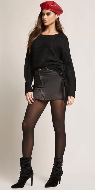 black-mini-skirt-black-sweater-black-tights-black-shoe-booties-slouchy-red-beret-hat-earrings-fall-winter-brun-lunch.jpg
