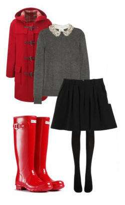 black-mini-skirt-red-shoe-boots-rain-wellies-black-tights-grayl-sweater-toggle-red-jacket-coat-fall-winter-lunch.jpg