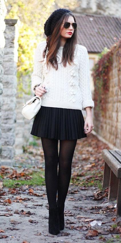black-mini-skirt-white-sweater-white-bag-beanie-black-tights-fall-winter-brun-lunch.jpg