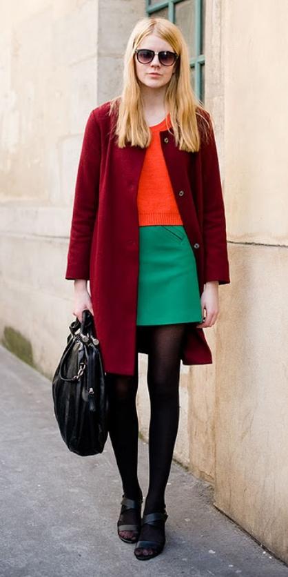 green-emerald-mini-skirt-orange-sweater-burgundy-jacket-coat-sun-black-bag-black-tights-black-shoe-sandalh-wear-style-fashion-fall-winter-colorblock-blonde-lunch.jpg