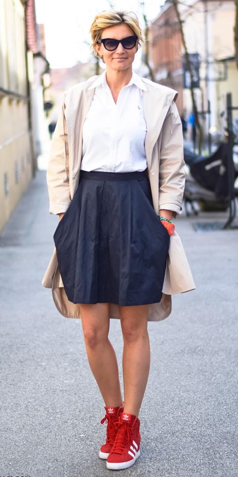 black-mini-skirt-white-collared-shirt-blonde-red-shoe-sneakers-tan-jacket-coat-trench-spring-summer-weekend.jpg