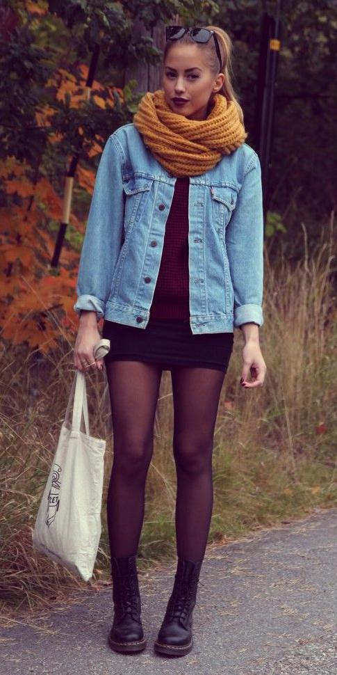 black-mini-skirt-r-burgundy-sweater-pony-wear-style-fashion-fall-winter-black-tights-blue-light-jacket-jean-yellow-scarf-black-shoe-booties-hairr-weekend.jpg