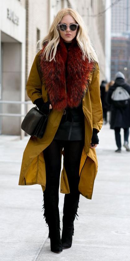 black-mini-skirt-black-sweater-wear-style-fashion-fall-winter-turtleneck-sun-yellow-jacket-coat-trench-black-bag-black-tights-red-scarf-stole-long-black-shoe-boots-blonde-dinner.jpg