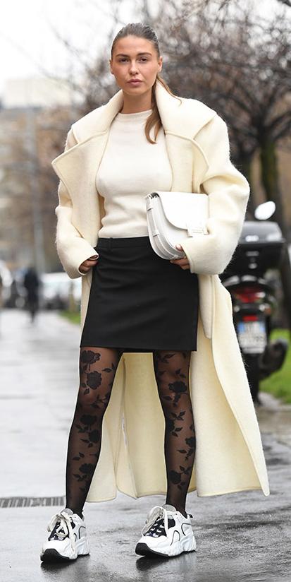 black-mini-skirt-white-sweater-black-tights-floral-white-shoe-sneakers-white-bag-blonde-pony-white-jacket-coat-fall-winter-lunch.jpg