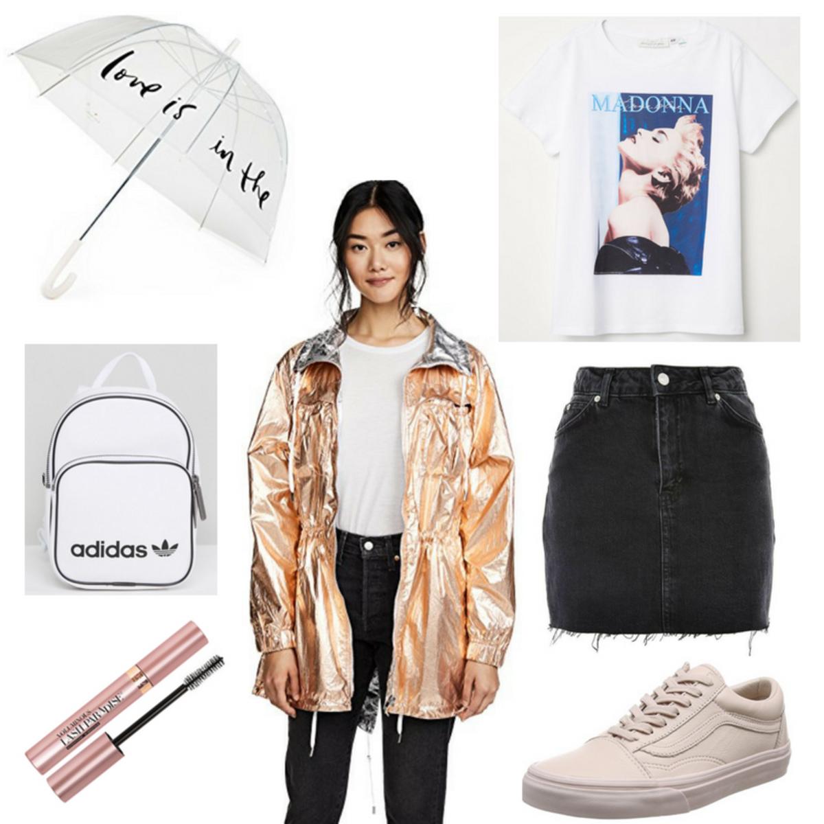 black-mini-skirt-denim-white-shoe-sneakers-white-graphic-tee-gold-yellow-jacket-parka-metallice-white-bag-pack-rain-spring-summer-weekend.jpg