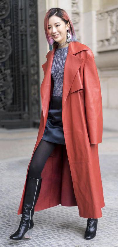 black-mini-skirt-orange-jacket-coat-trench-black-tights-hairr-lob-earrings-black-shoe-boots-fall-winter-lunch.jpg