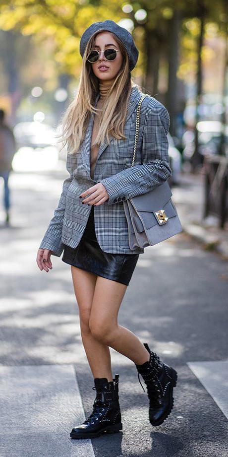 black-mini-skirt-grayl-jacket-blazer-oversized-plaid-black-shoe-booties-tan-tee-turtleneck-sun-blonde-gray-bag-hat-beret-fall-winter-weekend.jpg