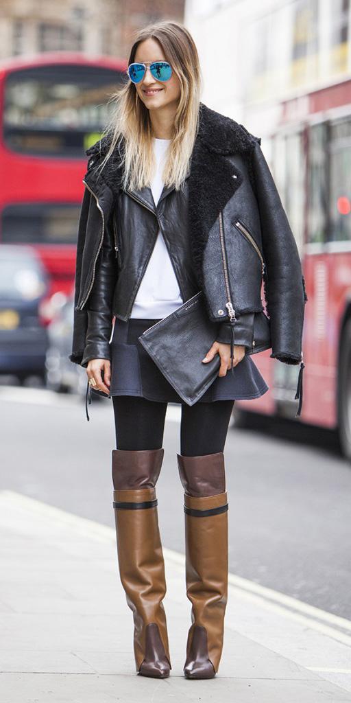 black-mini-skirt-blonde-sun-brown-shoe-boots-black-jacket-moto-black-tights-fall-winter-lunch.jpg