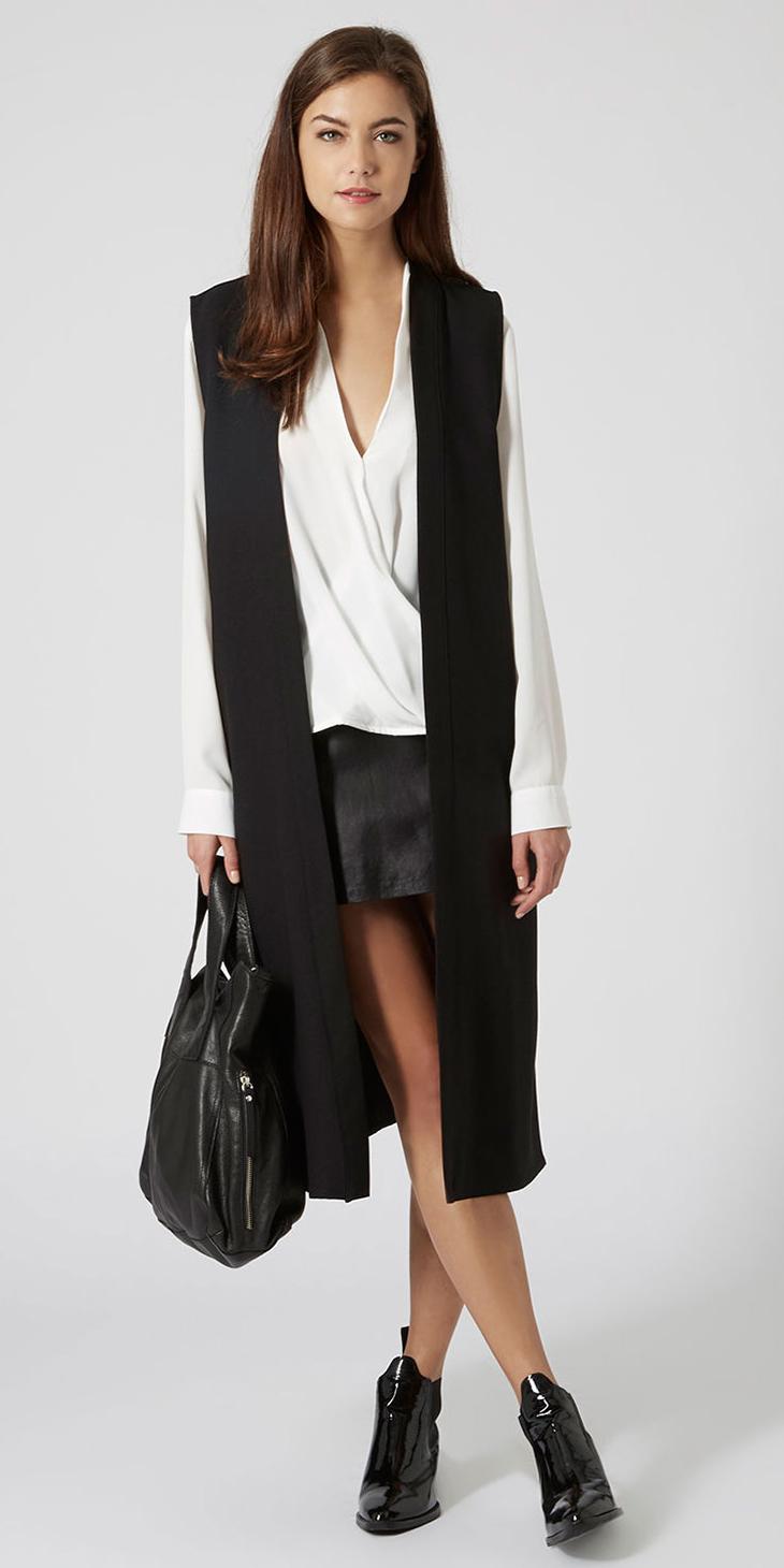 black-mini-skirt-white-top-blouse-brun-black-bag-black-vest-tailor-black-shoe-booties-fall-winter-lunch.jpg