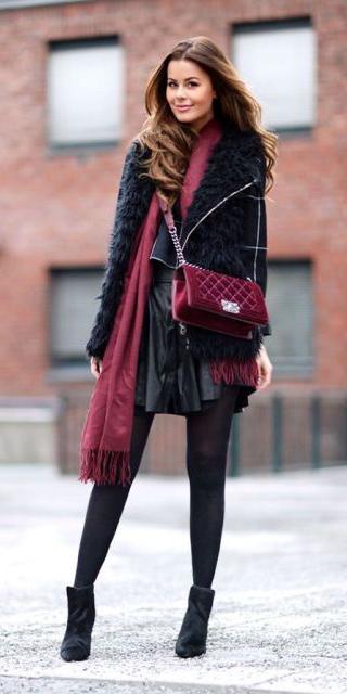 black-mini-skirt-burgundy-scarf-burgundy-bag-velvet-black-vest-fur-fuzz-black-tights-black-shoe-booties-black-sweater-layer-fall-winter-hairr-dinner.jpg