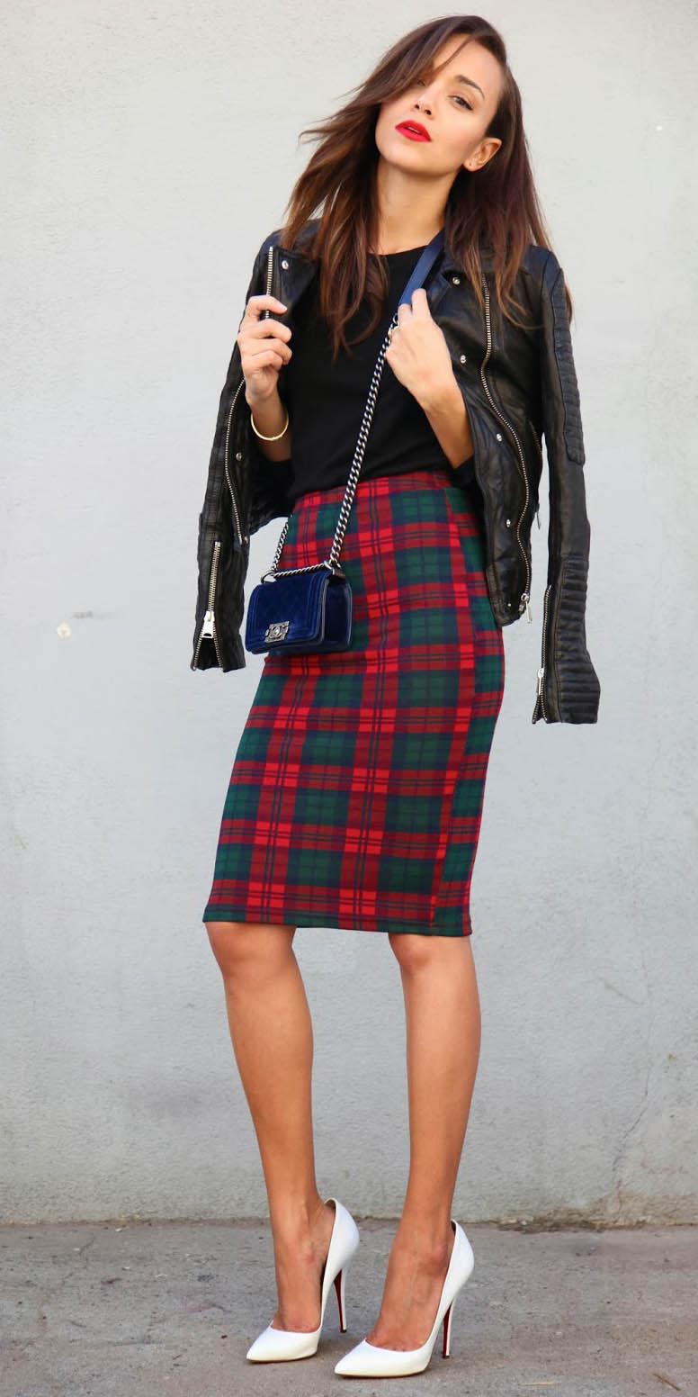 red-pencil-skirt-black-tee-black-jacket-moto-blue-bag-plaid-print-white-shoe-pumps-fall-winter-brun-dinner.jpg