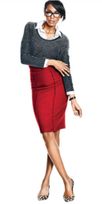 11951f6ae4878 red-pencil-skirt-white-collared-shirt-grayd-sweater-