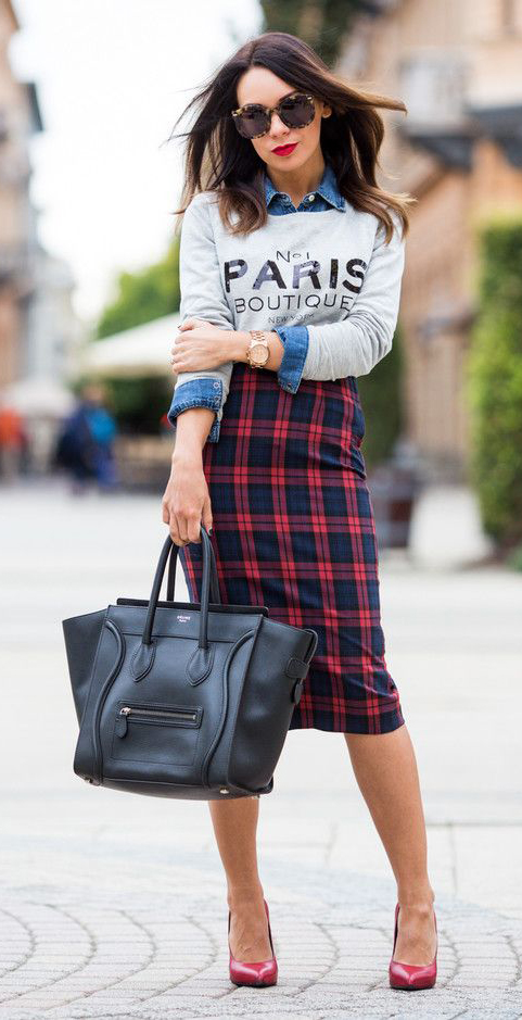 red-pencil-skirt-plaid-grayl-sweater-blue-med-collared-shirt-layer-red-shoe-pumps-hairr-sun-fall-winter-lunch.jpg