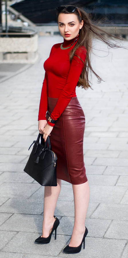 805d655b10ad6 red-pencil-skirt-leather-red-sweater-turtleneck-necklace-