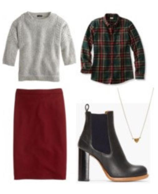 red-pencil-skirt-knee-green-dark-plaid-shirt-howtowear-style-fashion-fall-winter-grayl-sweater-black-shoe-booties-necklace-work.jpg