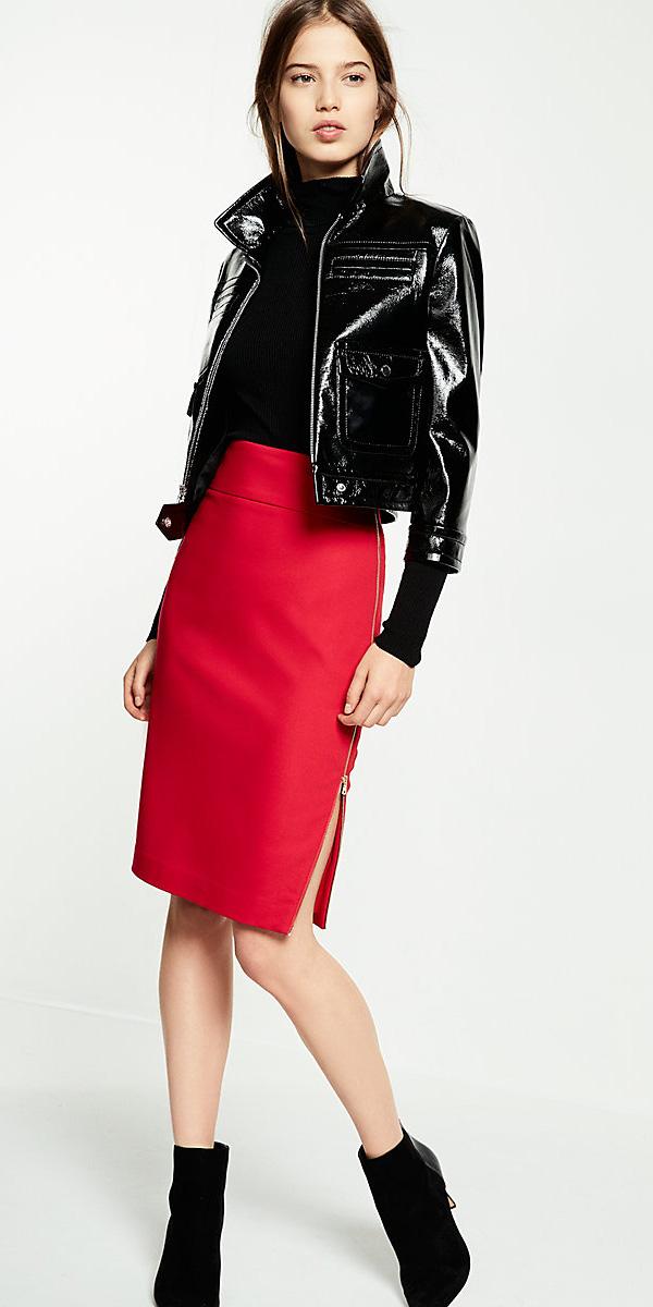 red-pencil-skirt-black-top-turtleneck-black-jacket-moto-black-shoe-booties-fall-winter-hairr-dinner.jpg