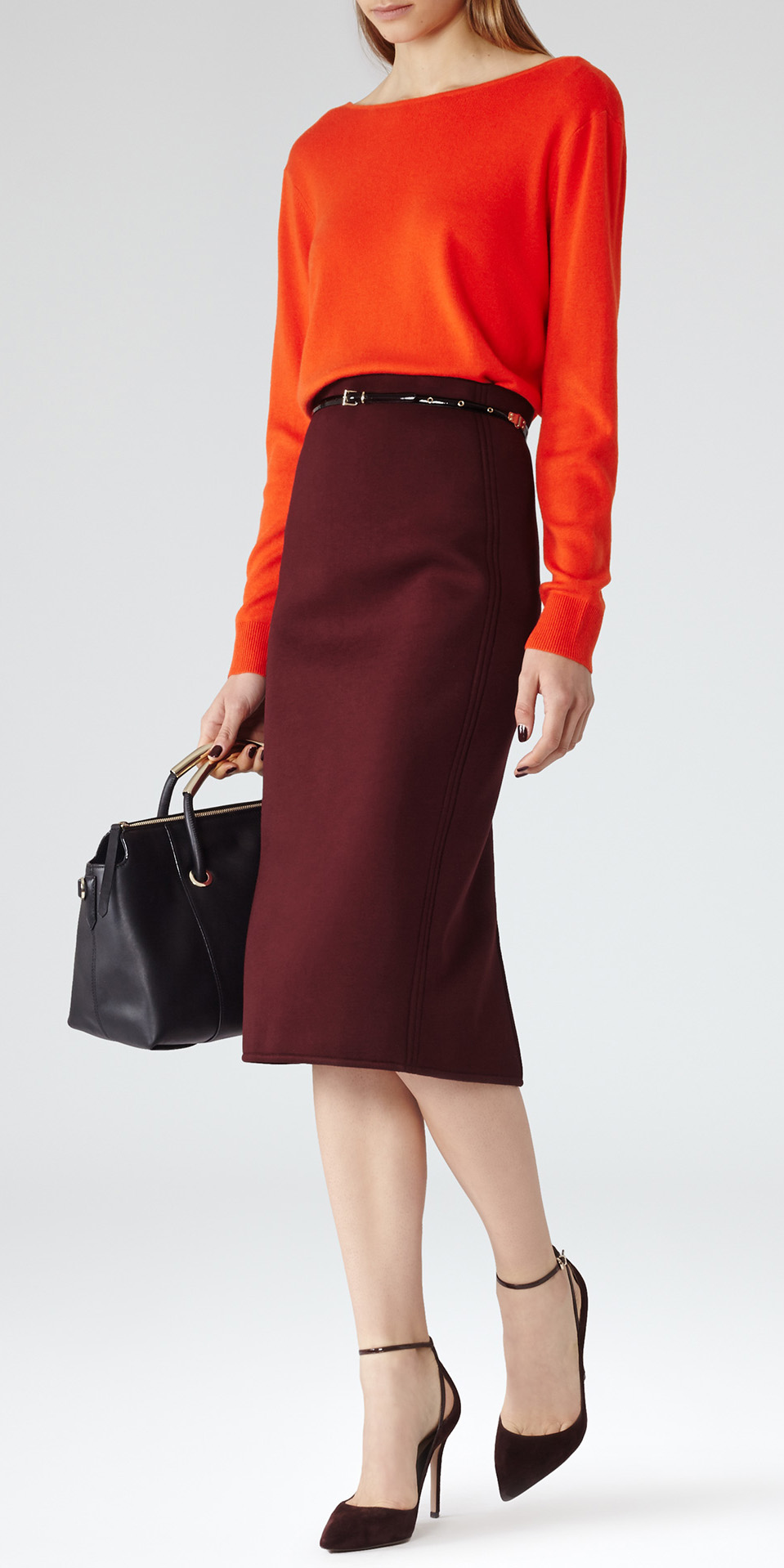 burgundy-pencil-skirt-orange-sweater-skinny-belt-black-bag-black-shoe-pumps-fall-winter-work.jpeg