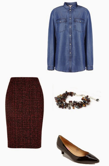 r-burgundy-pencil-skirt-blue-med-collared-shirt-bracelet-howtowear-style-fashion-fall-winter-tweed-chambray-black-shoe-pumps-work.jpg